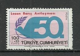 Turkey; 1973 50th Anniv. Of Lausanne Peace Treaty - 1921-... República