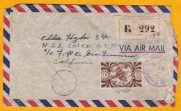 1945 - Enveloppe De Noumea  Vers San Francisco, USA - Censure 2e Guerre - WW2 - Cachet Transit New York Et US Navy - Briefe U. Dokumente