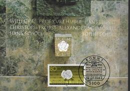ALLEMAGNE    Carte Maxi   1983   Bonn  Rose Guerre  Fleurs Resistance - Guerre Mondiale (Seconde)