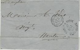 """1859- Enveloppe De Pointe-à-Pitre ( Guadeloupe ) """" Voie D'Angleterre """"   Entrée Noire , Sans Taxe Pour Nantes - Marcophilie (Lettres)"""