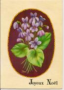 L15F123 - Joyeux Noël Et Bonne Année - Carte Ouvrante Découpée - Relief - Bouquet De Violettes - N°1055/1 - Christmas