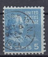 """USA 5 C Monroe 1938 - """"(New) York 17. N.Y."""" 1 Kreis 1954  O - United States"""