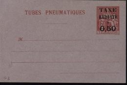Entier Enveloppe Pneumatique Chaplain Rouge 60ct Surcharge Noire Taxe Réduite à 0.5 Sur Timbre Maximum Barré Storch G3
