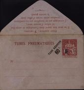 Entier Enveloppe Tubes Pneumatiques Surcharge Typographique Taxe Réduite 60c Noire 6 Traits Sur 75 Chaplain Papier Lilas