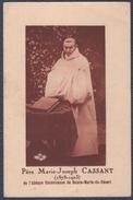 Reliquaire Père Marie-Joseph Cassant.Triptyque Avec Morceau D'étoffe. - Images Religieuses