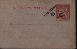 Entier Enveloppe Rouge Sur Lilas Tube Pneumatique Surcharge Typographique Taxe Réduite 60c Noir 5 Traits Sur 75 Chaplain