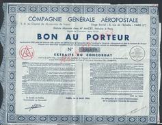 ANCIENNE ACTION COMPAGNIE GÉNÉRALE AÉROPOSTALE PARIS RUE DE L ÉCHELLE : - Aviation