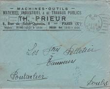 """Enveloppe Commerciale 1940 PRIEUR / Machine Outil / PP Port Payé Paris 26 Flamme Monnaie De Paris - Voyez Ses Musées..."""" - Postmark Collection (Covers)"""