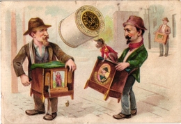 3Trade Cards Music Instrument Orgue De Barbarie Rotary Organ Leierkasten Au Marché Lenoir J&P Coats Danser Litho - Chromos