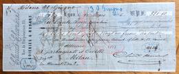 CAMBIALE  MILANO LYON  1866  DI FRANCHI 381,10 CON INTERESSANTI FIRME AUTOGRAFE E MARCA DA BOLLO - Cambiali