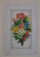 Belle Chromo Ornéé D'un Découpis De Fleurs Bordure Gaufrée, Dorée - Trade Cards