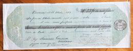 CAMBIALE  LOMBARDO VENETO  DA 20 SOLDI VICENZA 1865 CON INTERESSANTI NOTE E FRMA AUTOGRAFE - Cambiali