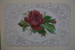 Belle Image Ornée De Chromo Découpi De Fleurs, Rose Et Muguet Avec Bordure Finement Ajourée De Type Canivet - Devotion Images