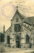 Cpa CONTY 80 L Eglise Grand Portail - Cachet 9e Bataillon De Tirailleurs Indochinois ( Cantonnement à CONTY 1916 ) - Conty