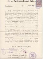 Schreiben Des K.K.Bezirksschulrat Wien 1915, Einstellung Einer Provisorischen Lehrerin Der Knaben-Volksschule In Wien .. - Historische Dokumente
