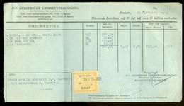 FACTUUR VAN DE N.V. GELDERSCHE CREDIETVEREENIGING Tnv CAPPETTI  Te ARNHEM Uit 1933 * Met 1 BELASTINGZEGEL (10.626n) - Netherlands