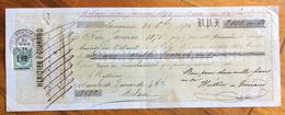 CAMBIALE  LOSANNA   1870  DI 2000 FR IN ORO  CON INTERESSANTI  MARCHE DA BOLLO  E FIRME AUTOGRAFE - Cambiali