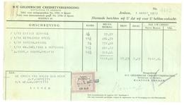FACTUUR VAN DE N.V. GELDERSCHE CREDIETVEREENIGING Tnv CAPPETTI  Te ARNHEM Uit 1933 * Met 1 BELASTINGZEGEL (10.626o) - Netherlands