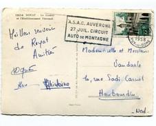 M24 : FLAMME TEMPORAIRE : FRANKERS ASAC AUVERGNE 27 JUILLET CIRCUIT AUTO DE MONTAGNE 1958 SUR LE QUESNOY 1106 - Postmark Collection (Covers)