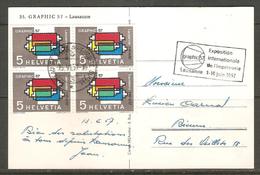 Carte Postale Avec Blocs De Quatre 1957 ( Suisse ) - Blocks & Sheetlets & Panes