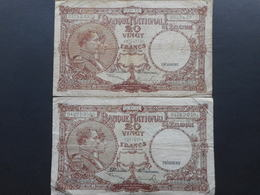 Belgium 20 Francs 1947 (Lot Of 2 Banknotes) - [ 2] 1831-... : Belgian Kingdom
