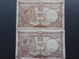 Belgium 20 Francs 1947 (Lot Of 2 Banknotes) - [ 2] 1831-... : Koninkrijk België