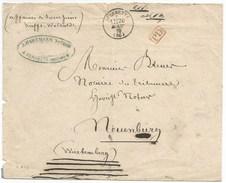 C543 - FERRETTE - 20 AOUT 1870 - Enveloppe En PORT DU Pour ALLEMAGNE Wurtemberg - Cachet Type 16 - Haut Rhin - Alsace - - Elsass-Lothringen