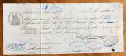 CAMBIALE  MILANO  1873  DI 1500 LIRE ITALIANE  CON INTERESSANTI   FIRME AUTOGRAFE E MARCHE DA BOLLO - Cambiali