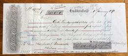 CAMBIALE  HUDDERSFIELD 1870  DI 25,00 PONUDS  CON INTERESSANTI   FIRME AUTOGRAFE E MARCHE DA BOLLO - Cambiali