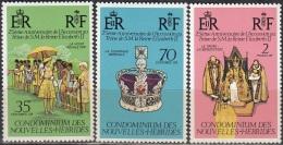 Nouvelles Hebrides 1977 Michel 444 - 446 Neuf ** Cote (2005) 3.50 Euro 25 Ans Régence De Reine Elisabeth II - Légende Française