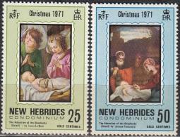 Nouvelles Hebrides 1971 Michel 311 - 312 Neuf ** Cote (2005) 1.60 Euro Noël Tableaux - Légende Anglaise