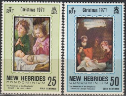 Nouvelles Hebrides 1971 Michel 311 - 312 Neuf ** Cote (2005) 1.60 Euro Noël Tableaux - Leyenda Inglesa