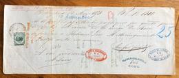 CAMBIALE BELLINZONA 1873  DI 1500 ITALIANE LIRE  CON INTERESSANTI   FIRME AUTOGRAFE E MARCHE DA BOLLO - Cambiali