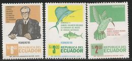 1985 Ecuador Delgado Naturalist Bird  Fish  Complete Set  Of 3 MNH - Ecuador