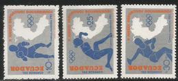 1985 Ecuador Bolivarian Games Boxing  Complete Set Of 3 MNH - Ecuador