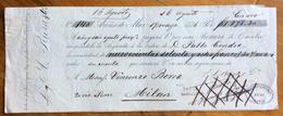 CAMBIALE CON COPIA ALLEGATA  ARENS DE MAR 1876 ENTRAMBE    CON INTERESSANTI   FIRME AUTOGRAFE  E MARCHE DA BOLLO - Cambiali