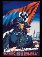 "Militaria WW2 - Photo Affiche De Propagande Allemande - ""Häving Bolsvismile!"" - 1939-45"