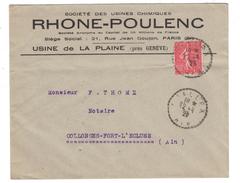 1929 - CAD CACHET DISTRIBUTION PERLÉ TIRETS DE CHALLEX AIN SUR LETTRE AFFR. SEMEUSE 50c COLLONGES RHONE-POULENC PLAINE - Postmark Collection (Covers)