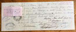 CAMBIALE  LYON   1874   DI 2000 FRANCHI ORO   CON INTERESSANTI  FIRME E MARCHE DA BOLLO - Cambiali