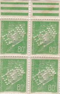 France Pétain Bloc De 4 N° 513 Perforés EPN - 1941-42 Pétain