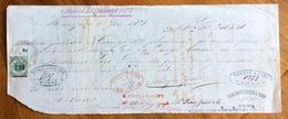 CAMBIALE  MANOSCRITTA BELLINZONA   1871   DI 2463,60 FRANCHI ORO   CON INTERESSANTI  FIRME E MARCHE DA BOLLO - Cambiali