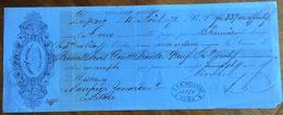 CAMBIALE ADOLPH MEYER LEIPZIC  1872  DI 339 FR.ORO   CON INTERESSANTI  FIRME E MARCHE DA BOLLO - Cambiali