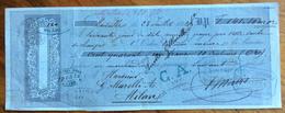 CAMBIALE MARSEILLE MARSIGLIA  1872  DI 141,10 FR.ORO   CON INTERESSANTI  FIRME E MARCHE DA BOLLO - Cambiali