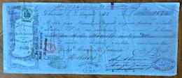 CAMBIALE CHIASSO 1873 STOFFE SERIE E VELLUTI G,,B,CORTI   DI 1824 L.   CON INTERESSANTI  FIRME E MARCHE DA BOLLO - Cambiali