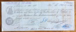 CAMBIALE MILANO 1871 DI 1208,06  LIRE ITALIANE IN ORO  CON INTERESSANTI  FIRME GIRATE E MARCA DA BOLLO - Cambiali
