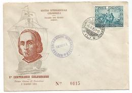 BUSTA F.D.C. 5° CENTENARIO NASCITA CRISTOFORO COLOMBO 1951 . - 6. 1946-.. Republic