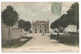 CARTE POSTALE DE JANVILLE ( EURE ET LOIR ) LA GARE , 1907 . - Andere Gemeenten
