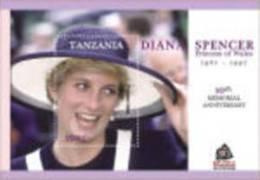 TANZANIA  2506 MINT NEVER HINGED SOUVENIR SHEET OF PRINCES DIANA  10th MEMORIAL  # 687-2  ( - Familias Reales