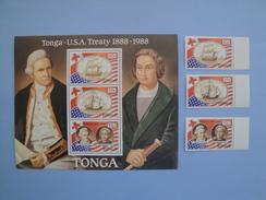 1988 Tonga - Yvert 708/10 + BF 12 ** Bateaux  Ships  Scott Xxx Michel 1048/50 + B 13  SG Xx US Treaty - Tonga (1970-...)