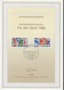 ALLEMAGNE  BERLIN   Carte Notice 1er Jour   1989 Volley Ball Hockey Sur Gazon